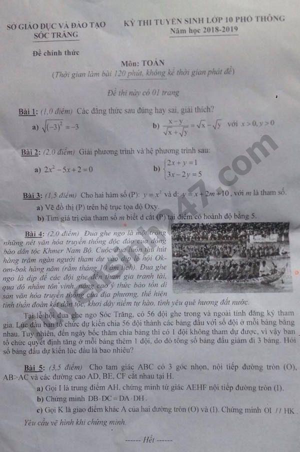 đề thi môn toán vào lớp 10 tỉnh Sóc Trăng năm 2018