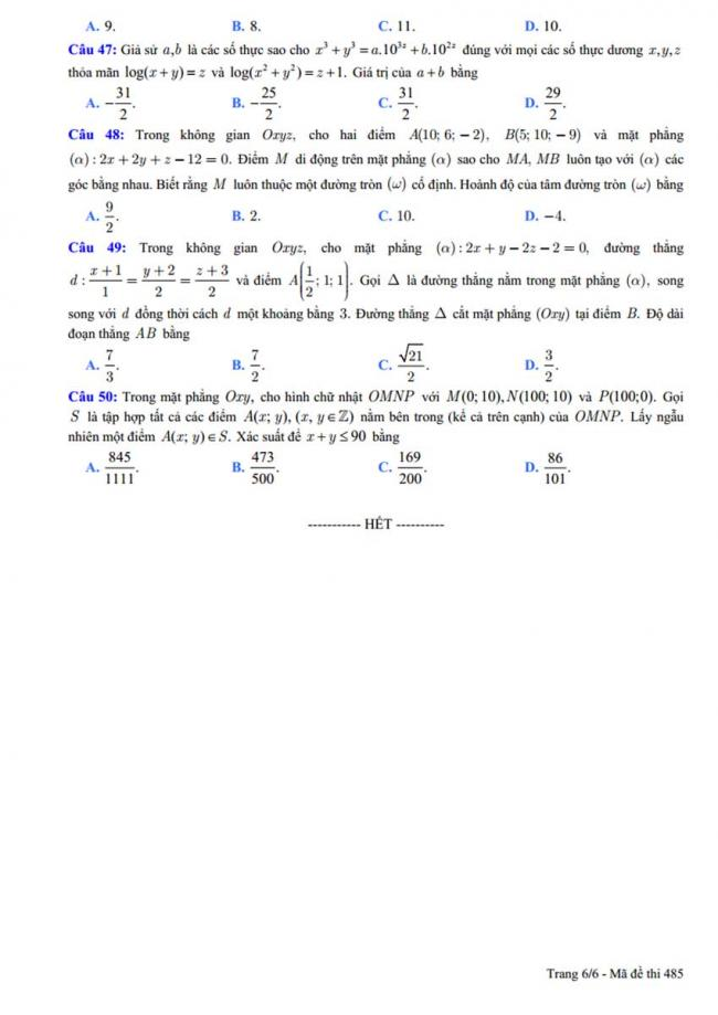 Đề thi thử môn Toán thptqg năm 2018 trường Chuyên ĐH Vinh - Nghệ An lần 1 trang 6