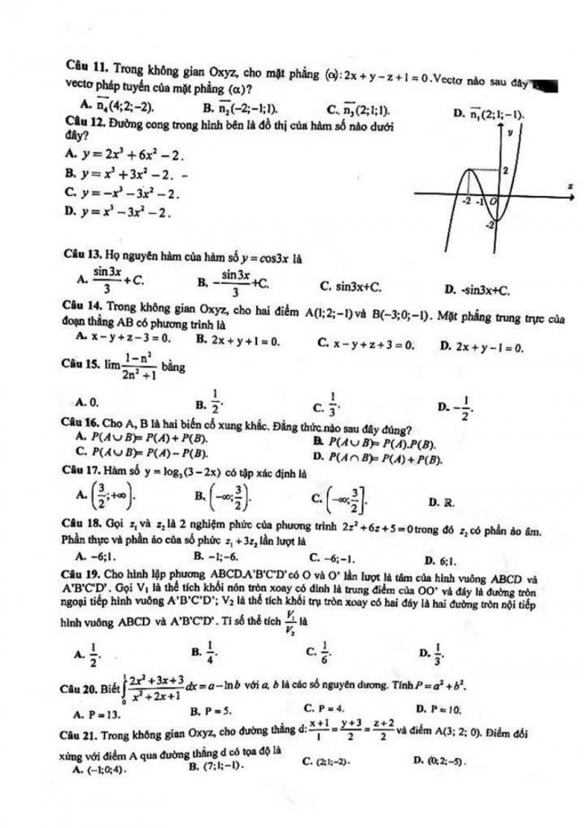 Đề thi thử môn Toán thptqg năm 2018 trường Chuyên Hà Tĩnh lần 1 trang 2