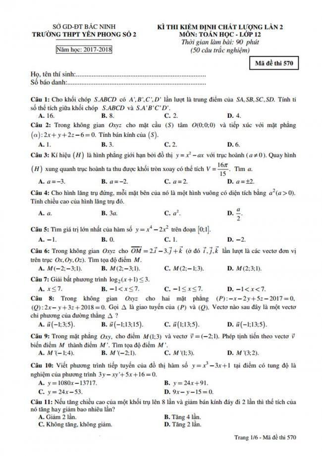 Đề thi thử môn Toán thptqg năm 2018 trường Yên Phong số 2 - Bắc Ninh lần 2 trang 1