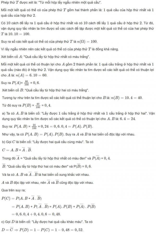 Đáp án bài 7 trang 75 SGK toán đại số và giải tích lớp 11