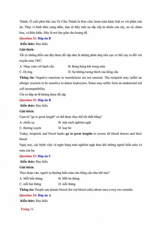 Đáp án đề thi thử môn Anh thptqg năm 2018 trường THPT chuyên Hưng Yên trang 10