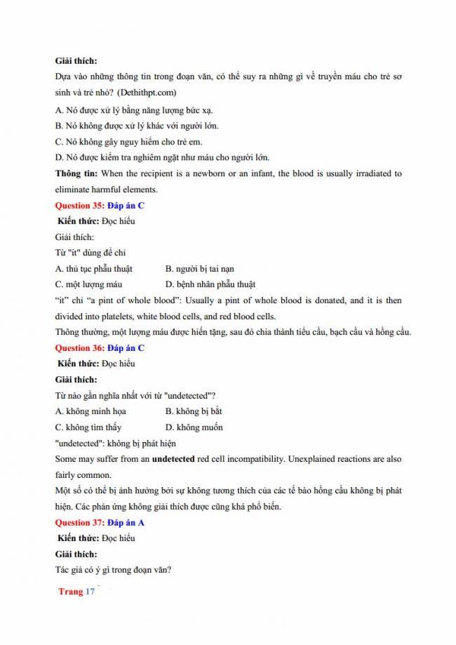 Đáp án đề thi thử môn Anh thptqg năm 2018 trường THPT chuyên Hưng Yên trang 11