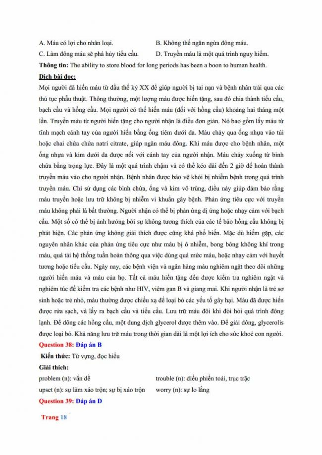 Đáp án đề thi thử môn Anh thptqg năm 2018 trường THPT chuyên Hưng Yên trang 12