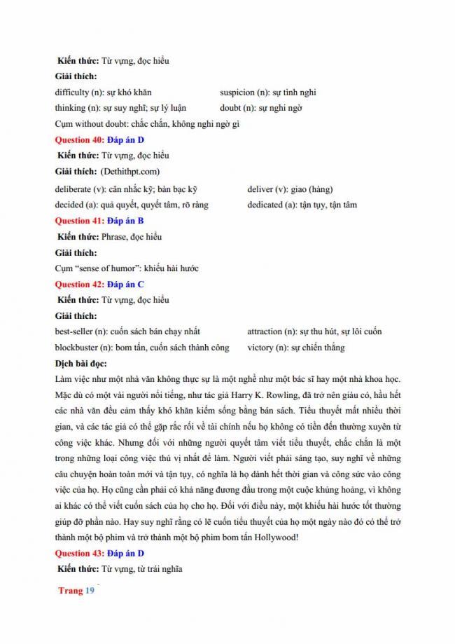 Đáp án đề thi thử môn Anh thptqg năm 2018 trường THPT chuyên Hưng Yên trang 13