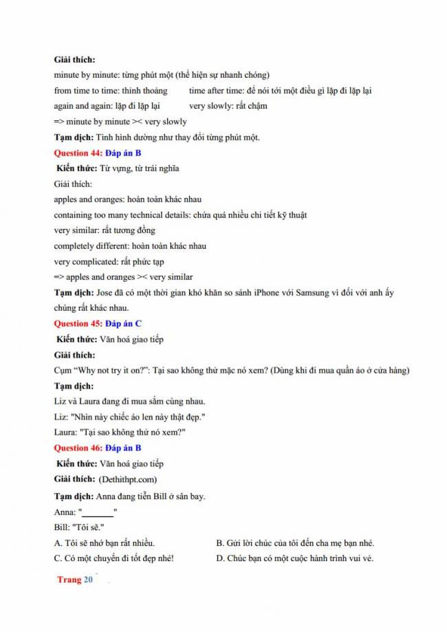 Đáp án đề thi thử môn Anh thptqg năm 2018 trường THPT chuyên Hưng Yên trang 14