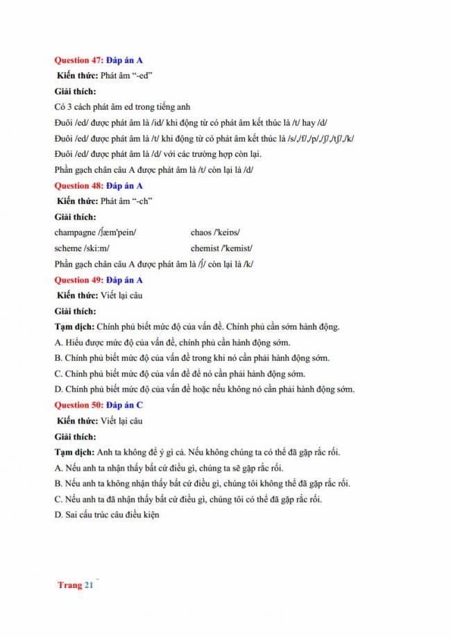 Đáp án đề thi thử môn Anh thptqg năm 2018 trường THPT chuyên Hưng Yên trang 15