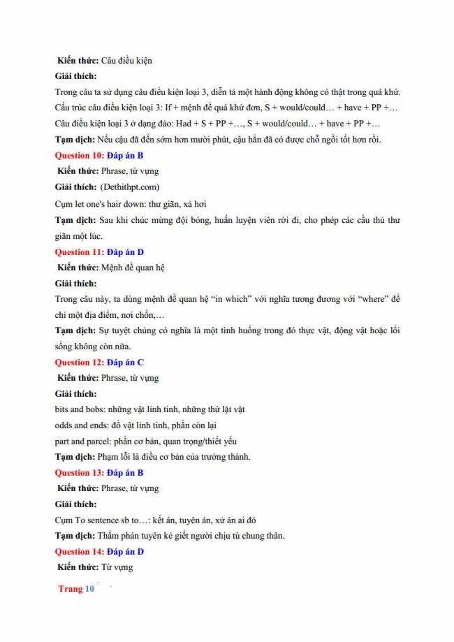 Đáp án đề thi thử môn Anh thptqg năm 2018 trường THPT chuyên Hưng Yên trang 4