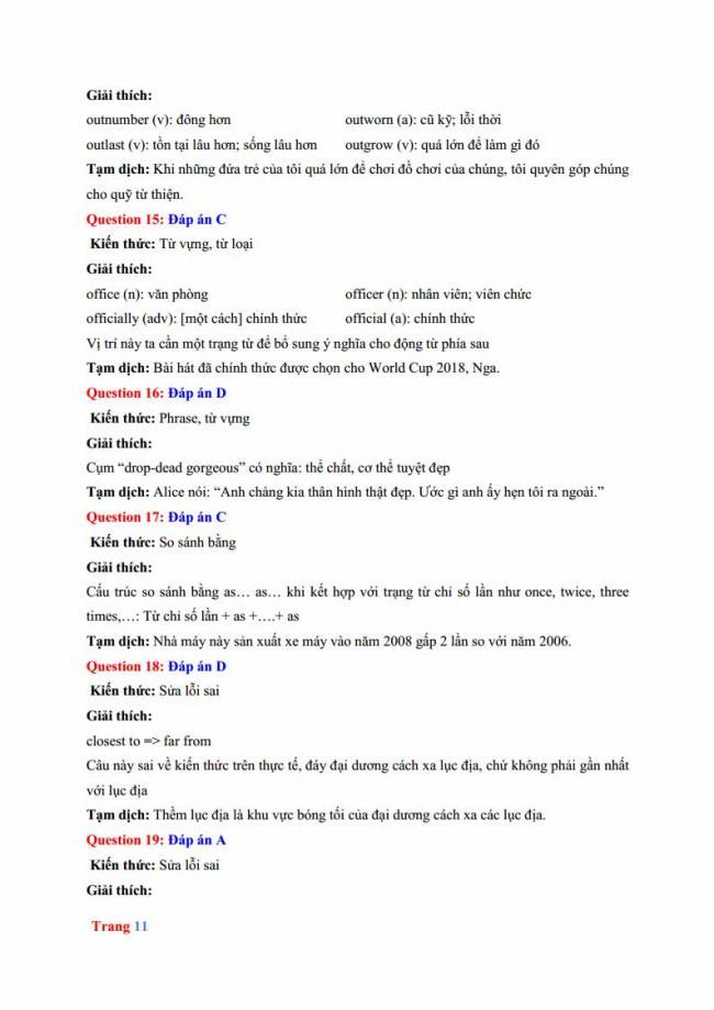 Đáp án đề thi thử môn Anh thptqg năm 2018 trường THPT chuyên Hưng Yên trang 5