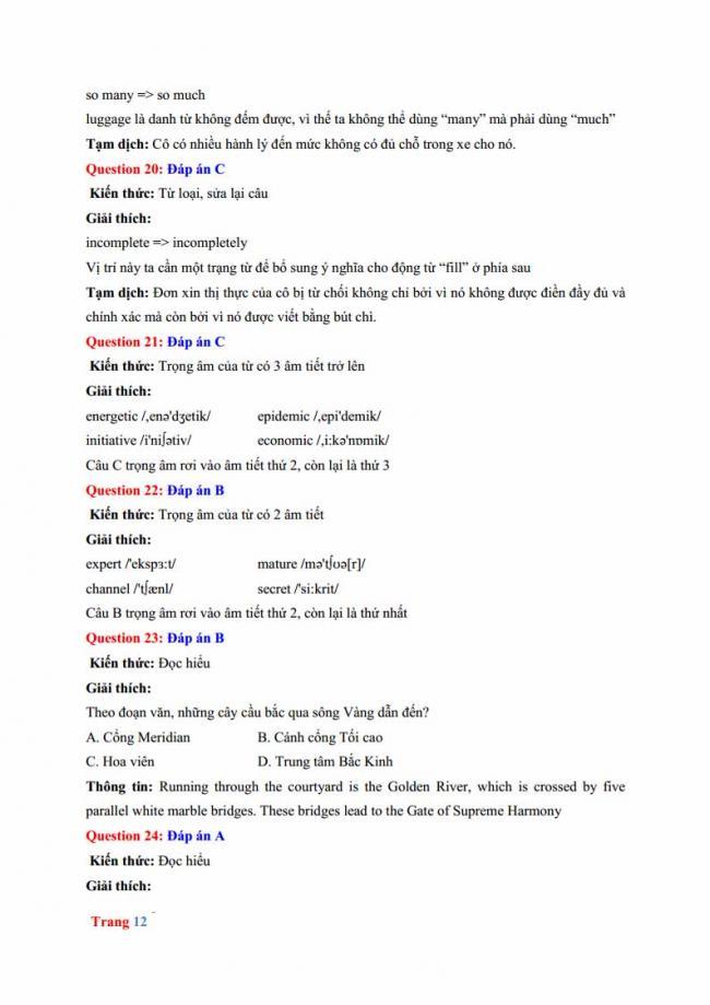 Đáp án đề thi thử môn Anh thptqg năm 2018 trường THPT chuyên Hưng Yên trang 6