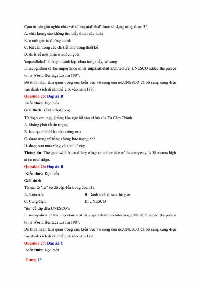 Đáp án đề thi thử môn Anh thptqg năm 2018 trường THPT chuyên Hưng Yên trang 7