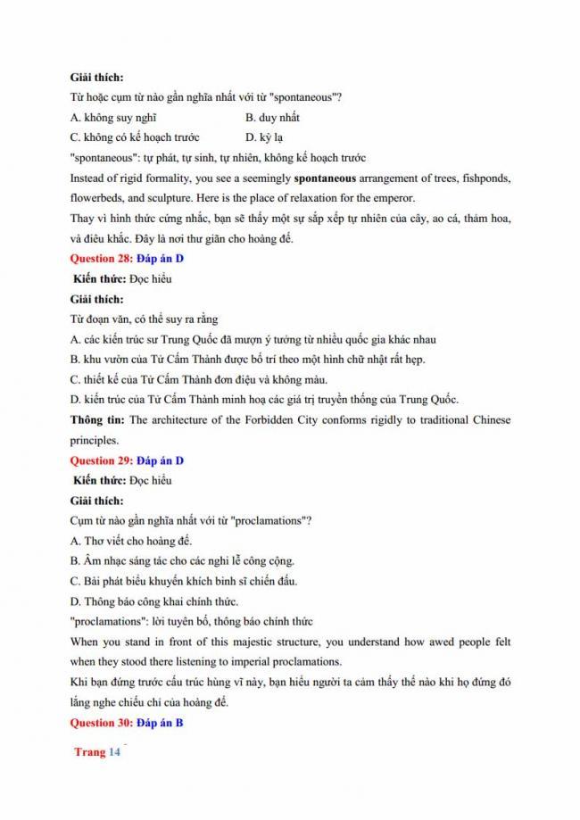 Đáp án đề thi thử môn Anh thptqg năm 2018 trường THPT chuyên Hưng Yên trang 8