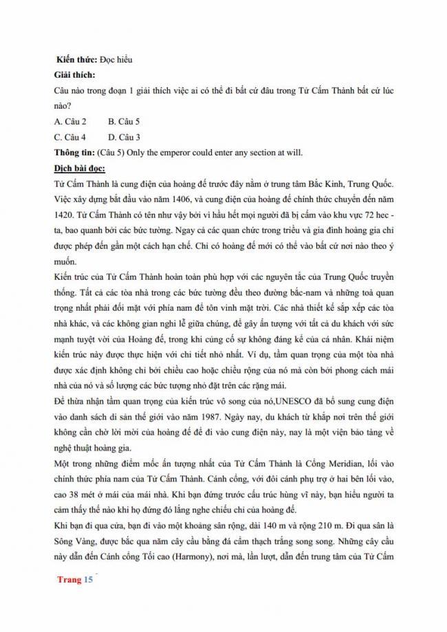 Đáp án đề thi thử môn Anh thptqg năm 2018 trường THPT chuyên Hưng Yên trang 9