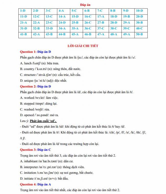 Đáp án đề thi thử môn Anh thptqg năm 2018 trường THPT Lương Phú - Thái Nguyên trang 1
