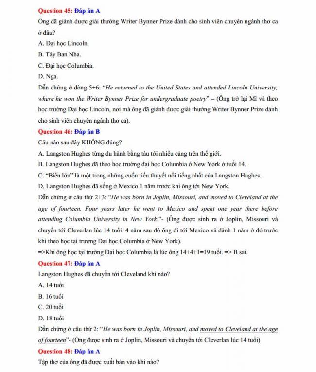 Đáp án đề thi thử môn Anh thptqg năm 2018 trường THPT Lương Phú - Thái Nguyên trang 10