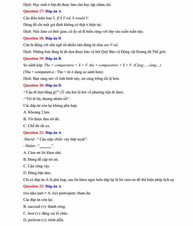 Đáp án đề thi thử môn Anh thptqg năm 2018 trường THPT Lương Phú - Thái Nguyên trang 4