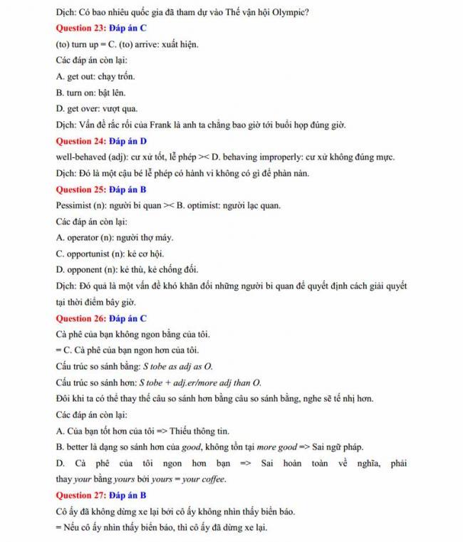 Đáp án đề thi thử môn Anh thptqg năm 2018 trường THPT Lương Phú - Thái Nguyên trang 5