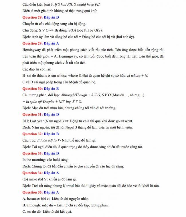 Đáp án đề thi thử môn Anh thptqg năm 2018 trường THPT Lương Phú - Thái Nguyên trang 6