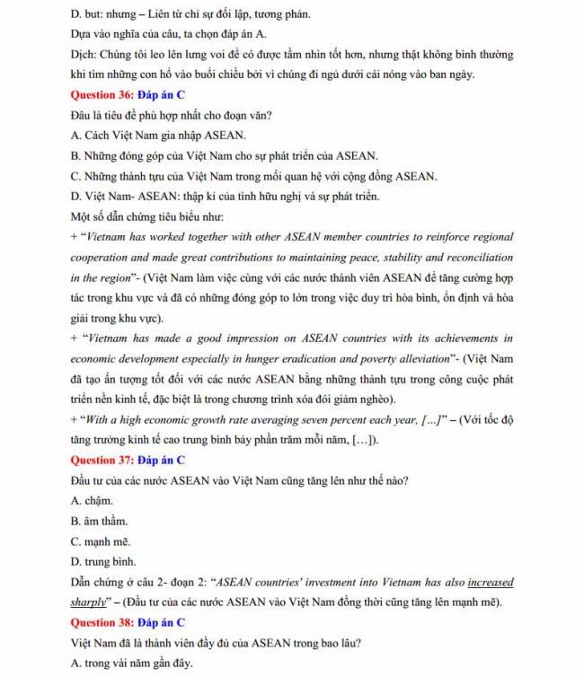Đáp án đề thi thử môn Anh thptqg năm 2018 trường THPT Lương Phú - Thái Nguyên trang 7