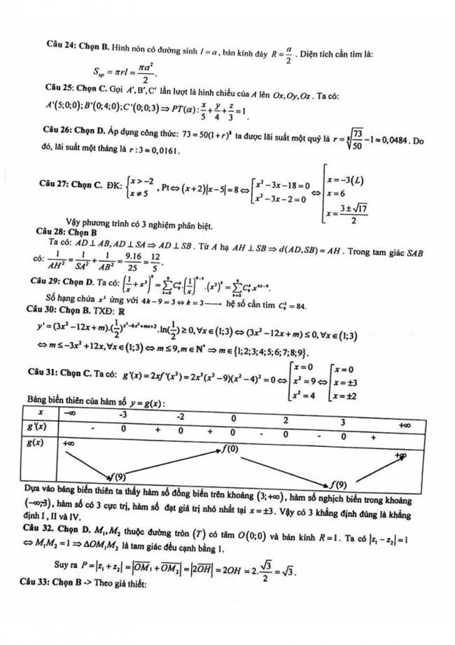 Đáp án Đề thi thử môn Toán thptqg năm 2018 trường Quảng Xương 1 - Thanh Hóa lần 3 trang 2