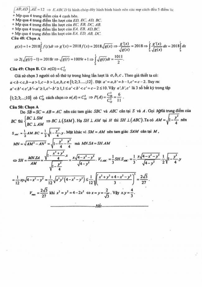 Đáp án Đề thi thử môn Toán thptqg năm 2018 trường Quảng Xương 1 - Thanh Hóa lần 3 trang 5