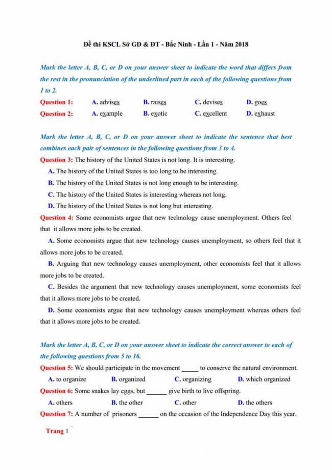 Đề thi thử môn Anh thptqg năm 2018 tỉnh Bắc Ninh trang 1