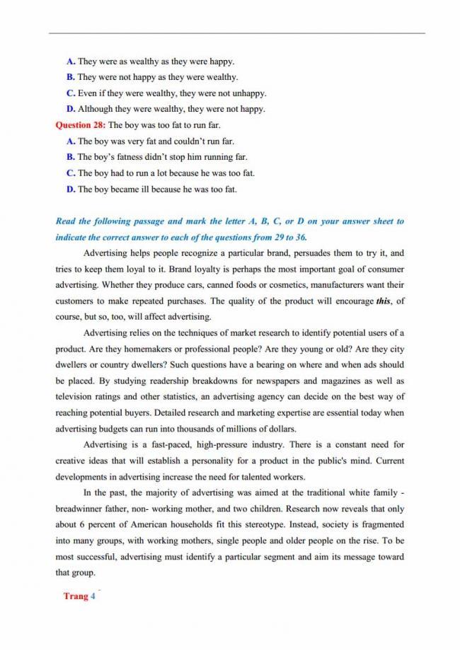 Đề thi thử môn Anh thptqg năm 2018 tỉnh Bắc Ninh trang 4