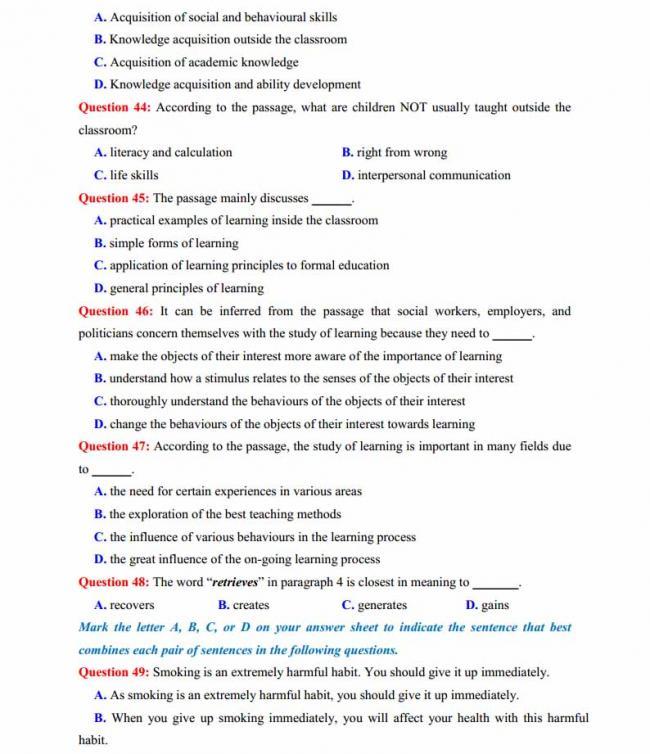 Đề thi thử môn Anh thptqg năm 2018 trường THPT chuyên Phan Ngọc Hiển Cà Mau trang 7