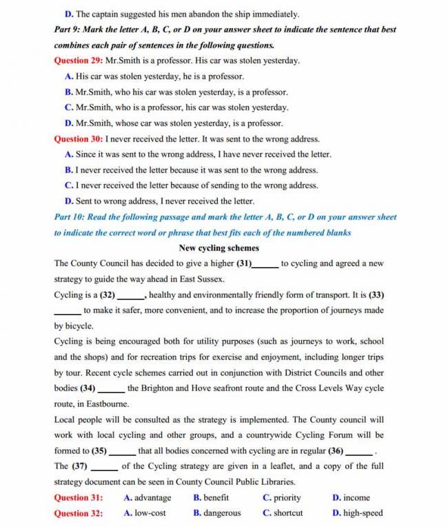 Đề thi thử môn Anh thptqg năm 2018 trường THPT chuyên Hoàng Văn Thụ Hòa Bình trang 4