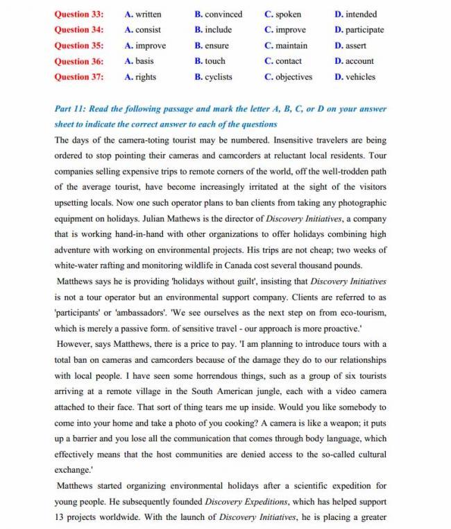 Đề thi thử môn Anh thptqg năm 2018 trường THPT chuyên Hoàng Văn Thụ Hòa Bình trang 5