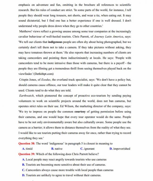 Đề thi thử môn Anh thptqg năm 2018 trường THPT chuyên Hoàng Văn Thụ Hòa Bình trang 6