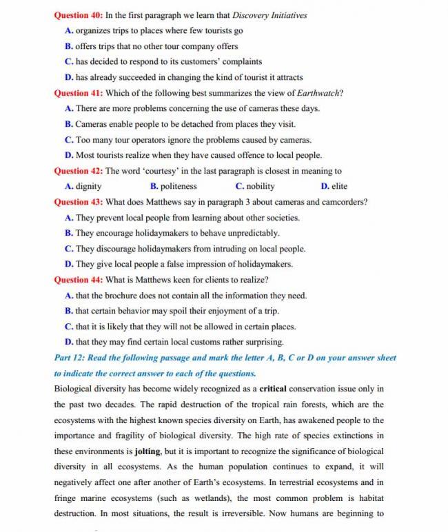 Đề thi thử môn Anh thptqg năm 2018 trường THPT chuyên Hoàng Văn Thụ Hòa Bình trang 7
