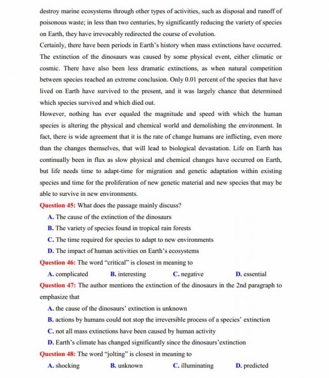 Đề thi thử môn Anh thptqg năm 2018 trường THPT chuyên Hoàng Văn Thụ Hòa Bình trang 8