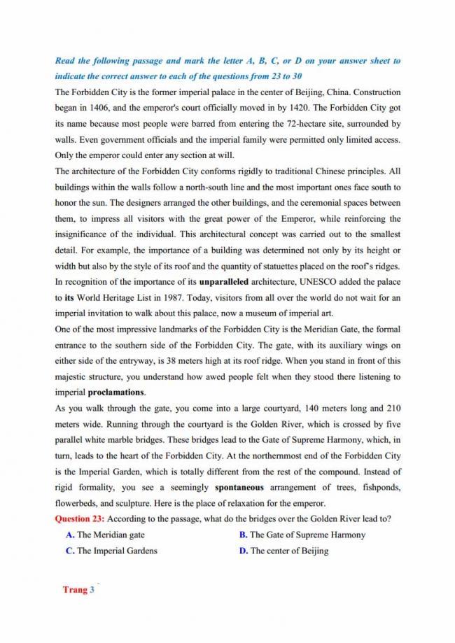 Đề thi thử môn Anh thptqg năm 2018 trường THPT chuyên Hưng Yên trang 3