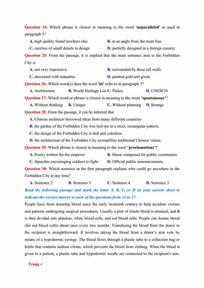 Đề thi thử môn Anh thptqg năm 2018 trường THPT chuyên Hưng Yên trang 4