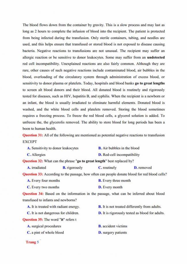 Đề thi thử môn Anh thptqg năm 2018 trường THPT chuyên Hưng Yên trang 5