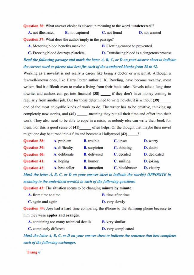 Đề thi thử môn Anh thptqg năm 2018 trường THPT chuyên Hưng Yên trang 6