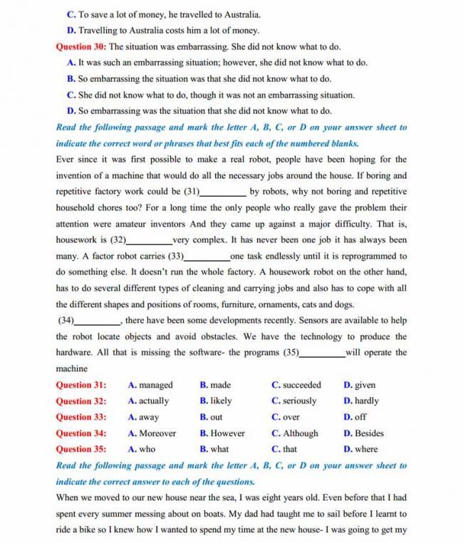 Đề thi thử môn Anh thptqg năm 2018 trường THPT Lục Ngạn - Bắc Giang trang 4