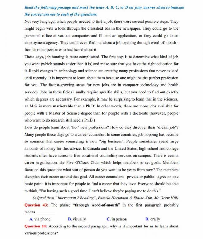 Đề thi thử môn Anh thptqg năm 2018 trường THPT Lục Ngạn - Bắc Giang trang 6