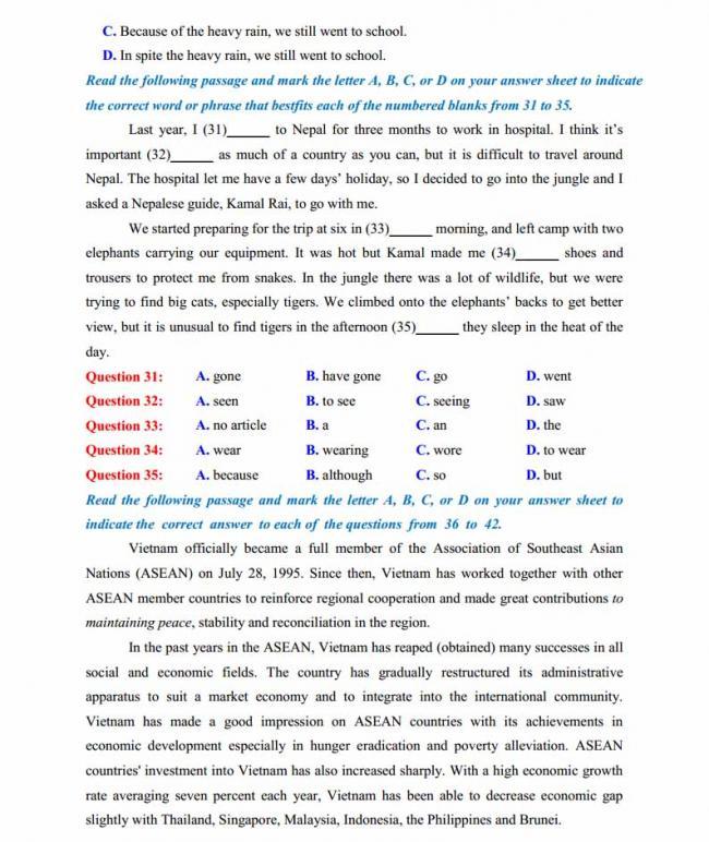 Đề thi thử môn Anh thptqg năm 2018 trường THPT Lương Phú - Thái Nguyên trang 4