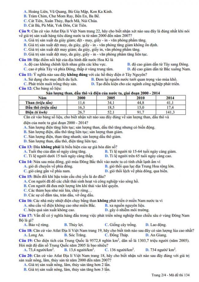 Đề thi thử môn Địa lý thptqg năm 2018 trường Lý Thái Tổ – Bắc Ninh trang 2