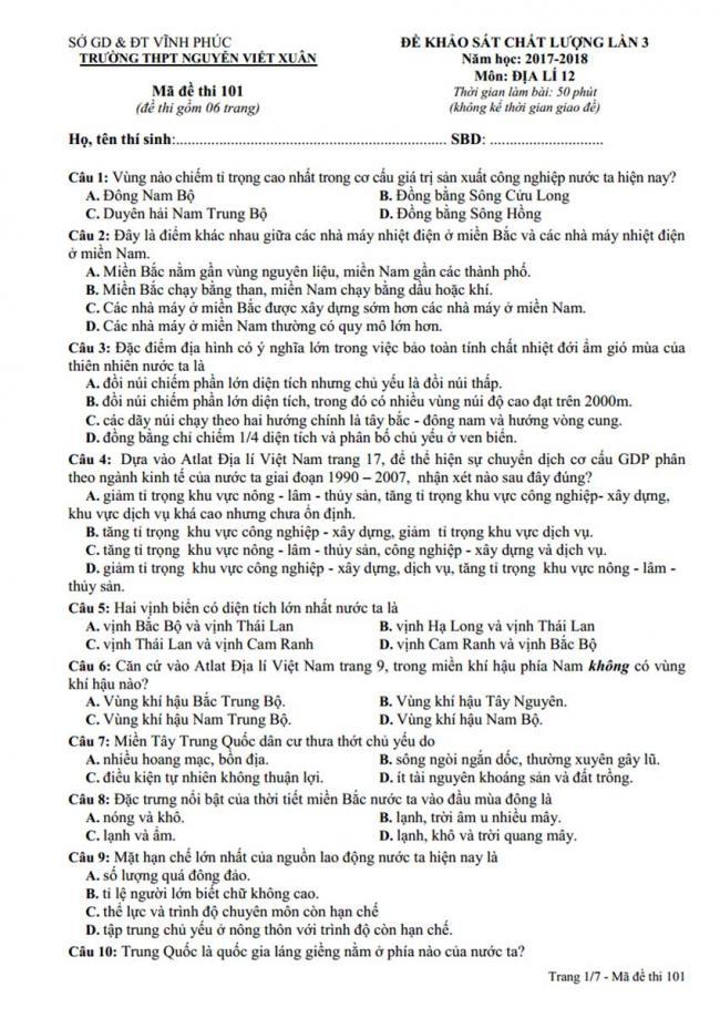 Đề thi thử môn Địa lý thptqg năm 2018 trường Nguyễn Viết Xuân – Vĩnh Phúc trang 1