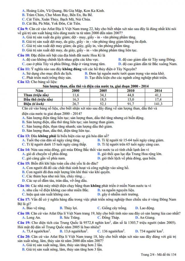 Đề thi thử môn Địa lý thptqg năm 2018 trường Phạm Công Bình – Vĩnh Phúc trang 2