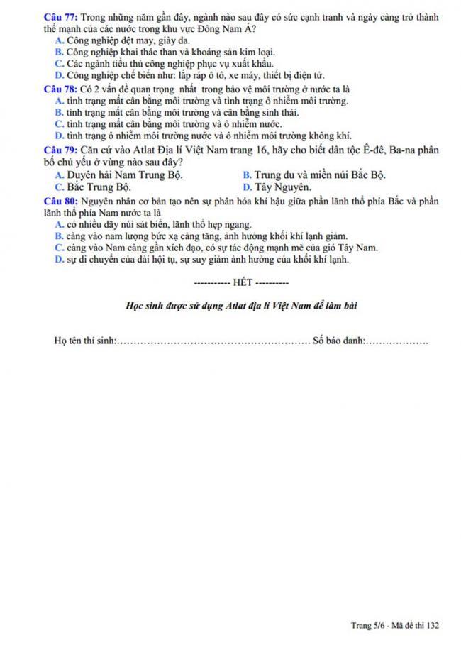 Đề thi thử môn Địa lý thptqg năm 2018 trường Yên Lạc 2 – Vĩnh Phúc trang 5