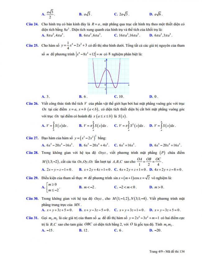 Đề thi thử môn Toán thptqg năm 2018 trường Chuyên Trần Phú - Hải Phòng lần 2 trang 4