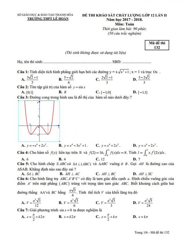 Đề thi thử môn Toán thptqg năm 2018 trường Lê Hoàn - Thanh Hóa lần 2 trang 1