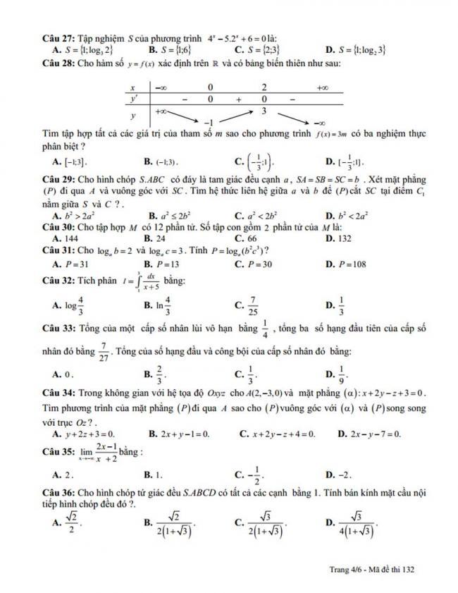 Đề thi thử môn Toán thptqg năm 2018 trường Lê Hoàn - Thanh Hóa lần 2 trang 4