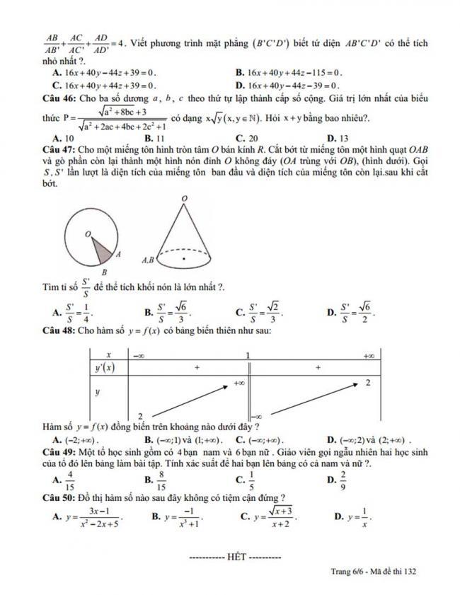 Đề thi thử môn Toán thptqg năm 2018 trường Lê Hoàn - Thanh Hóa lần 2 trang 6