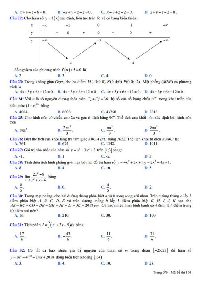 Đề thi thử môn Toán thptqg năm 2018 trường Nguyễn Viết Xuân - Vĩnh Phúc lần 3 trang 3