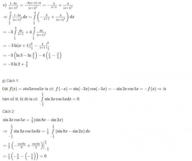 Đáp án bài 1 trang 112 sgk giải tích lớp 12 phần 2